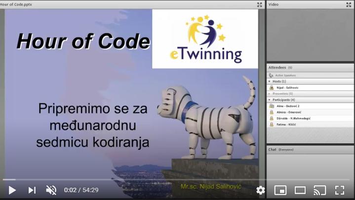 """eTwinning mrežni seminar: Mrežno programiranje – priprema za događanje """"Hour of Code"""""""